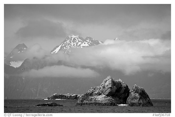 Rocky islets and cloud-shrouded peaks, Aialik Bay. Kenai Fjords National Park (black and white)