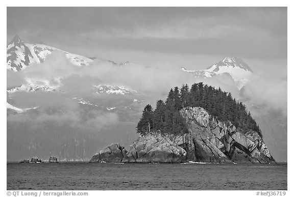Rocky islet and snowy peaks, Aialik Bay. Kenai Fjords National Park, Alaska, USA.