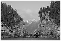 Steep rocky islands, Aialik Bay. Kenai Fjords National Park ( black and white)