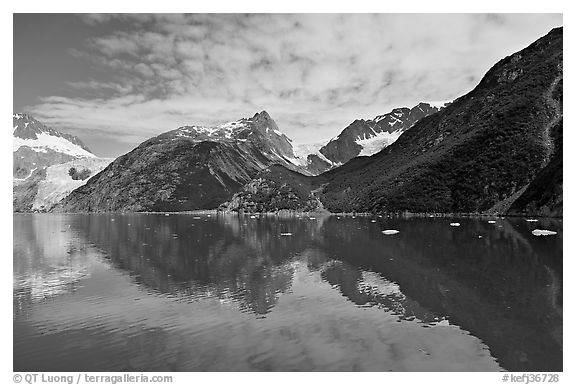 North side of fjord and reflections, Northwestern Fjord. Kenai Fjords National Park (black and white)