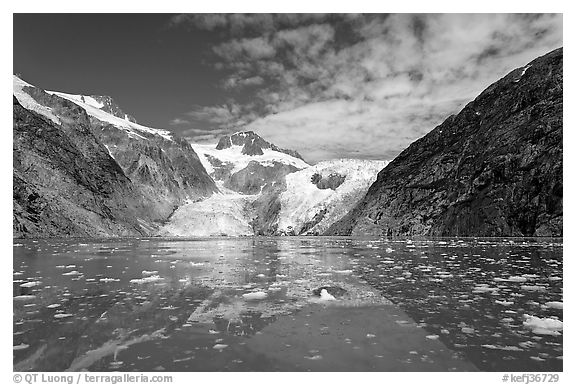 Northwestern Glacier and icebergs, Northwestern Lagoon. Kenai Fjords National Park (black and white)
