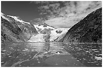Northwestern Glacier and icebergs, Northwestern Lagoon. Kenai Fjords National Park, Alaska, USA. (black and white)