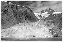 Northwestern tidewater glacier and steep cliffs, Northwestern Fjord. Kenai Fjords National Park, Alaska, USA. (black and white)