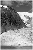 Steep Northwestern Glacier descending from Harding Icefield, Northwestern Fjord. Kenai Fjords National Park, Alaska, USA. (black and white)