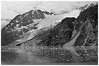 South side of fjord and icebergs, Northwestern Fjord. Kenai Fjords National Park, Alaska, USA. (black and white)
