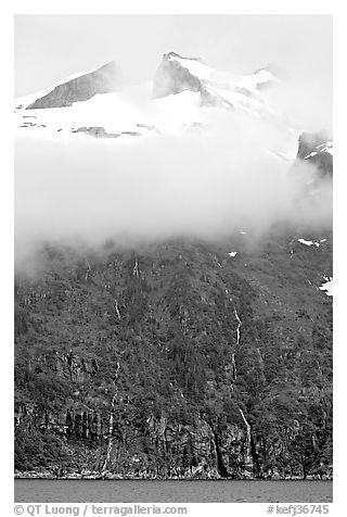 Cloud-covered peak and waterfalls, Northwestern Fjord. Kenai Fjords National Park (black and white)