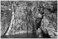 Waterfalls streaming into the ocean, Cataract Cove, Northwestern Fjord. Kenai Fjords National Park, Alaska, USA. (black and white)