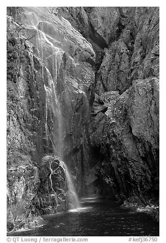Waterfall streaming into Cataract Cove, Northwestern Fjord. Kenai Fjords National Park (black and white)
