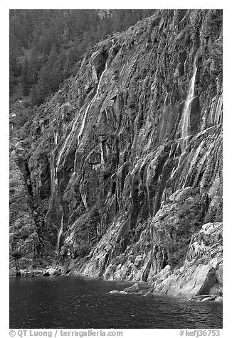 Waterfalls streaming into cove, Northwestern Fjord. Kenai Fjords National Park (black and white)
