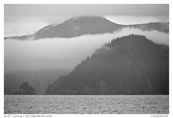 Mountains and fog above Aialik Bay. Kenai Fjords National Park (black and white)