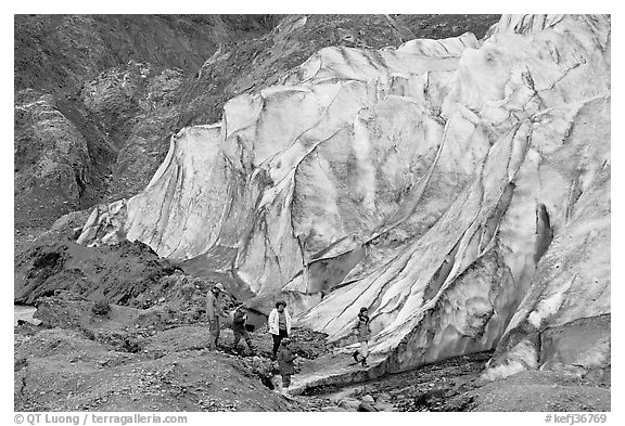 Family hiking on moraine at the base of Exit Glacier. Kenai Fjords National Park (black and white)