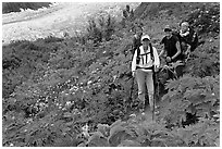Women carrying infants on trail. Kenai Fjords National Park, Alaska, USA. (black and white)