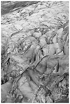 Crevasses on Exit glacier. Kenai Fjords National Park ( black and white)