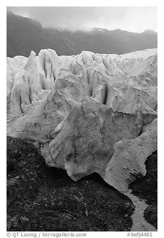 Exit Glacier and stream. Kenai Fjords National Park (black and white)