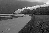 Glacial stream, Exit Glacier and outwash plain. Kenai Fjords National Park, Alaska, USA. (black and white)