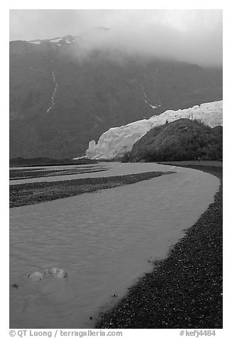 Exit Glacier and stream on glacial plain. Kenai Fjords National Park (black and white)