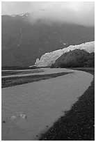 Exit Glacier and stream on glacial plain. Kenai Fjords National Park ( black and white)