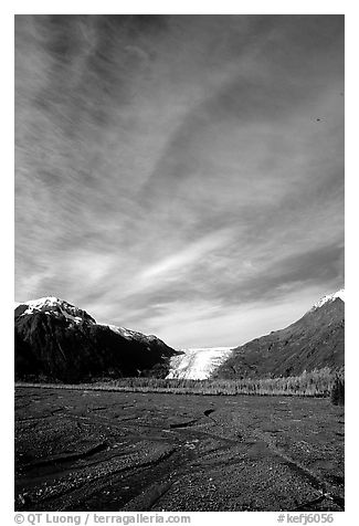 Sky, Resurrection River and Exit Glacier, morning. Kenai Fjords National Park (black and white)