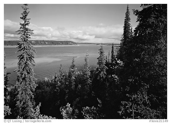 Bend of the Kobuk River, mid-morning. Kobuk Valley National Park (black and white)