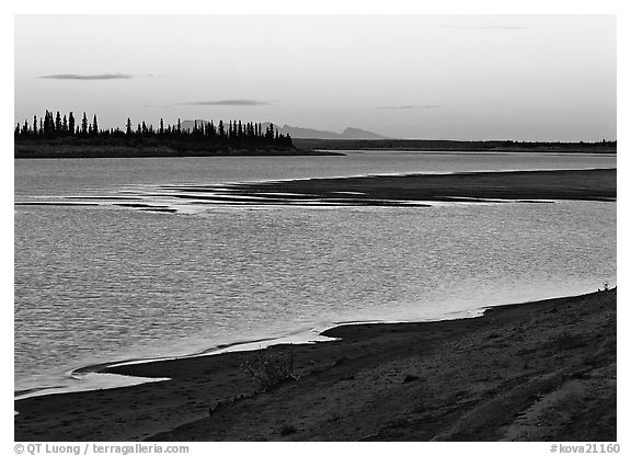 Sand bar shore, river, row of spruce trees,  and Baird mountains, evening. Kobuk Valley National Park (black and white)