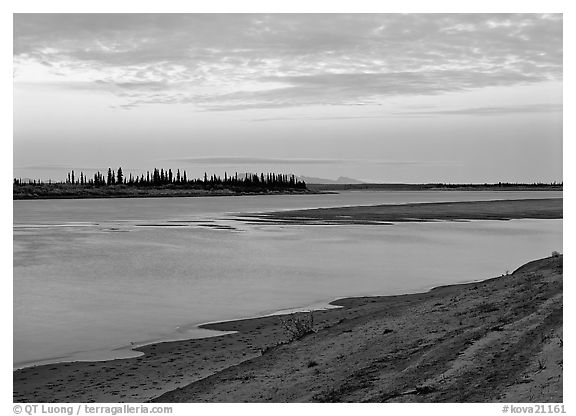 Sandy shore of Kobuk River at dusk. Kobuk Valley National Park (black and white)