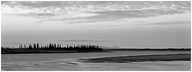 Kobuk River at dusk. Kobuk Valley National Park (Panoramic black and white)