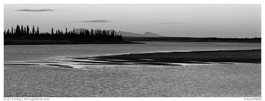 River landscape with ripples on water at dusk. Kobuk Valley National Park (black and white)