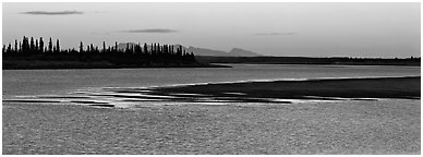 River landscape with ripples on water at dusk. Kobuk Valley National Park (Panoramic black and white)