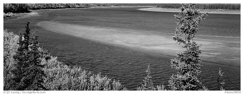 Sand bank in wide Kobuk River. Kobuk Valley National Park (black and white)
