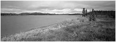 Tundra and river. Kobuk Valley National Park (Panoramic black and white)
