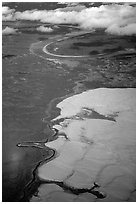 Aerial view of the Great Kobuk Sand Dunes. Kobuk Valley National Park ( black and white)