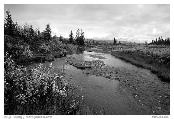 Kavet Creek, with the Great Sand Dunes in the background. Kobuk Valley National Park (black and white)