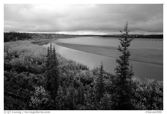 Bend of Kobuk River and sand bar, evening. Kobuk Valley National Park (black and white)