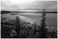 Bend of Kobuk River and sand bar, evening. Kobuk Valley National Park ( black and white)