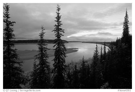 Bend of Kobuk River, dusk. Kobuk Valley National Park (black and white)