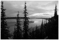Bend of Kobuk River, dusk. Kobuk Valley National Park ( black and white)