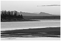 Sand bar shore, river and Baird mountains, evening. Kobuk Valley National Park ( black and white)