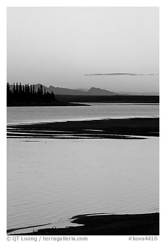 Shore, river and Baird mountains, evening. Kobuk Valley National Park (black and white)