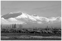 Baird mountains with a fresh dusting of snow, morning. Kobuk Valley National Park, Alaska, USA. (black and white)