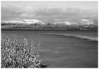 Kobuk River and Baird mountains with fresh dusting of snow, morning. Kobuk Valley National Park, Alaska, USA. (black and white)