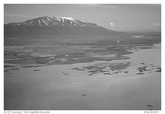 Aerial view of estuary and snowy peak. Lake Clark National Park (black and white)