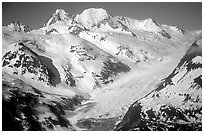 Aerial view of snowy mountains near Lake Clark Pass. Lake Clark National Park ( black and white)