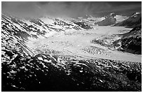Aerial view of wide glacier near Lake Clark Pass. Lake Clark National Park ( black and white)