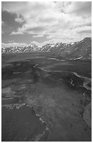 Aerial view of wide valley with Twin Lakes. Lake Clark National Park, Alaska, USA. (black and white)