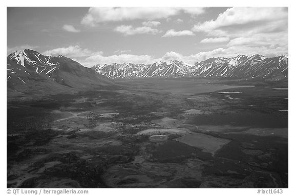 Aerial view of large valley with Twin Lakes. Lake Clark National Park (black and white)