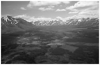 Aerial view of large valley with Twin Lakes. Lake Clark National Park ( black and white)
