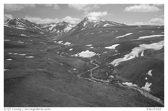 Aerial view of river and valley in the Twin Lakes area. Lake Clark National Park (black and white)