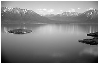 Aerial view of Lake Clark. Lake Clark National Park, Alaska, USA. (black and white)