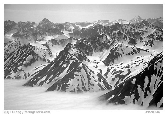 Aerial view of Chigmit Mountains. Lake Clark National Park (black and white)