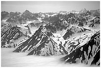 Aerial view of Chigmit Mountains. Lake Clark National Park ( black and white)